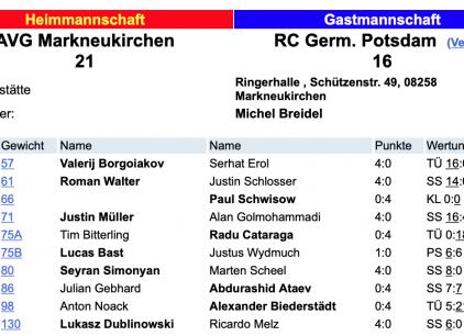 Foto der Ergebnisse aus der Ligadatenbank